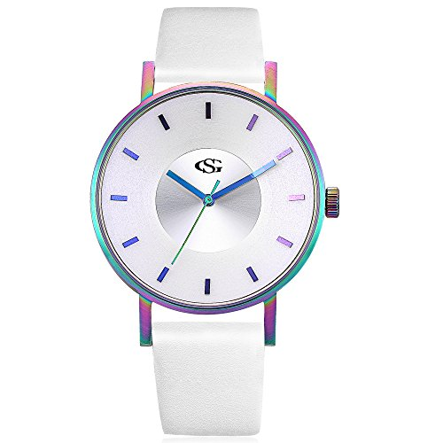 GEORGE SMITH Unisex Unique Analog Quartz Waterproof Business Casual Leather Band Wrist Watch with Simple Fashion Classic (Rainbow White)