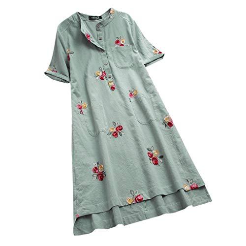 (RAINED-Women Casual Dress Irregular Floral Embroidered Pockets Short Sleeve Summer Midi Dress Tee Shirt Long Blouse Green)