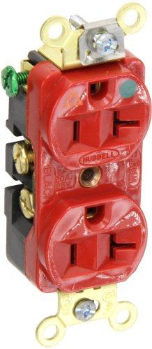 Hubbell Wiring Systems IG8300R SpikeShield HBL Extra Heavy Duty Hospital Grade Straight Blade Isolated Ground Duplex Receptacle, 125V, 20A, 1 HP, 2-Pole, 3-Wire, Red