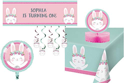 TLP Online Birthday Bunny Party Decorations - Bundle Includes: Customizable Banner, Danglers, Foil Balloon, Centerpiece, and Tablecover in Pink and Mint]()