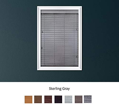Luxr Blinds Custom Made Premium Faux Wood Horizontal Blinds W/Easy Inside Mount & Outside Mount Wood Blind – Size: 33X35 Inch & Wooden Color: Sterling Gray