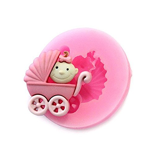Longzang Baby Carriage Fondant Silicone Sugar Craft Mold, Mini, Pink