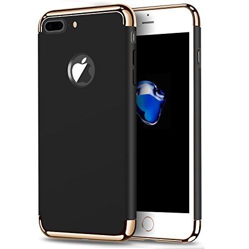 iPhone 7 Plus Case,Arukas 3-in-1 Stylish Slim Hard Case with 3 Detachable chrome gold Parts Anti-Scratch Non Slip Matte Surface with Electroplate Frame case for Apple iPhone 7 Plus (black) (Skinny Bolt)