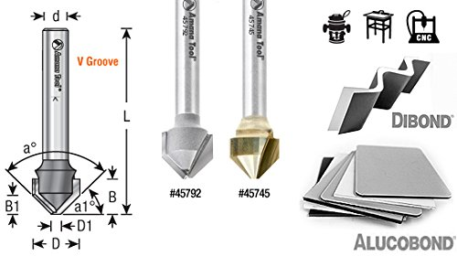 Amana Tool 45799 Rectangular Groove for Thick Aluminum Composite Material (ACM) Panels Like Alucobond, Dibond, 15/16 R x 7/16 CH x 5/8 D x 1/4 Inch SHK Carbide Tipped Router Bit