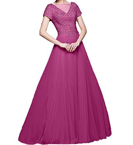 Langes Zahlreichen Chiffon Partykleider Formalkleider Brautmutterkleider Charmant Abendkleider Damen mit Fuchsia Pailletten 71wZq6