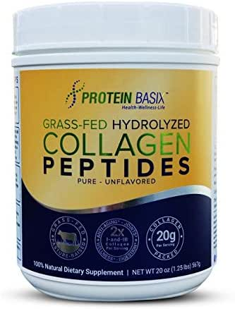 Protein Basix Hydrolyzed Collagen Peptides, for Youthful, Vibrant Skin, Hair & Nails. Grass Fed, Pasture Raised, 20g of Collagen Powder Per Serving, More Servings per Container, Paleo & Keto Friendly