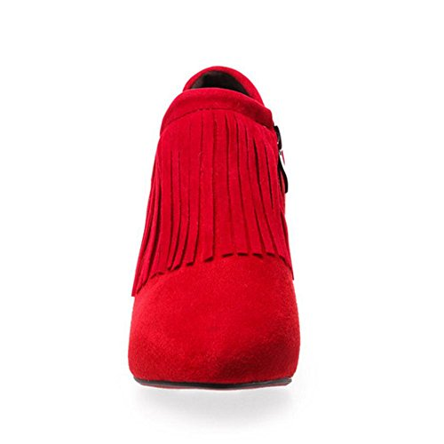 Vintage Wedge KemeKiss Heel Fashion Red Shoes Tassel Womens Ankle Mid nnWUpSEa
