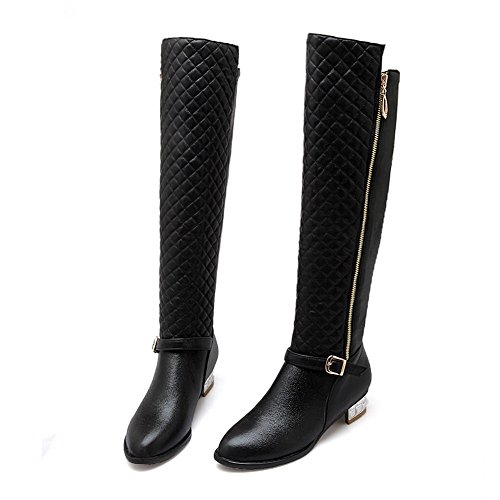 Buckle BalaMasa Black Square Imitated Leather Trekking Heels Boots Ladies qSS48WOnt