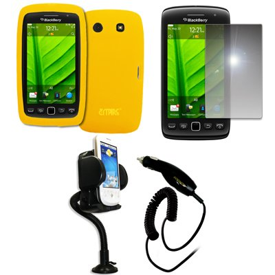 - EMPIRE Yellow Silicone Skin Case Cover + 360 Degree Rotatable Car Windshield Mount with Air Vent Attachment + Mirror Screen Protector + Car Charger (CLA) for BlackBerry Torch 9850