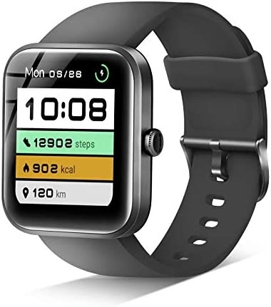 JIKKO Smart Watch, Built-in Alexa, 1.69-inch Touch Screen, Heart Rate Monitor and Pulse oximeter Pedometer Clock Stopwatch, 5ATM Waterproof Fitness Tracker Men's and Women's Watches Android iPhone