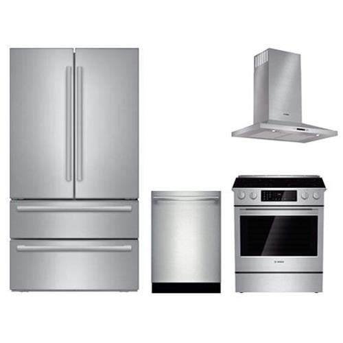 - 4-Piece Stainless Steel Kitchen Package with B21CL81SNS 36 French Door Refrigerator HEI8054U 30 Electric Range HCP30651UC 30 Range Hood and SHX5AVL5UC 24 Fully Integrated Dishwasher