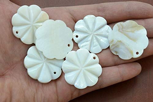 Bead Jewelry Making Art Supplies 6 PCS Carved Flower Mother of Pearl Shell Beads Pendants 1 3/8