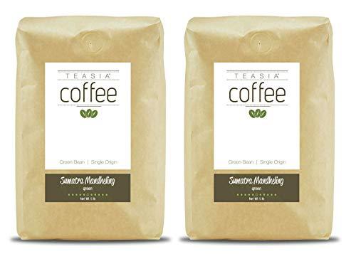 Teasia Coffee, Sumatra Mandheling, 2-Pack, Single Origin, Green Unroasted Whole Coffee Beans, 5-Pound Bag by Teasia (Image #1)