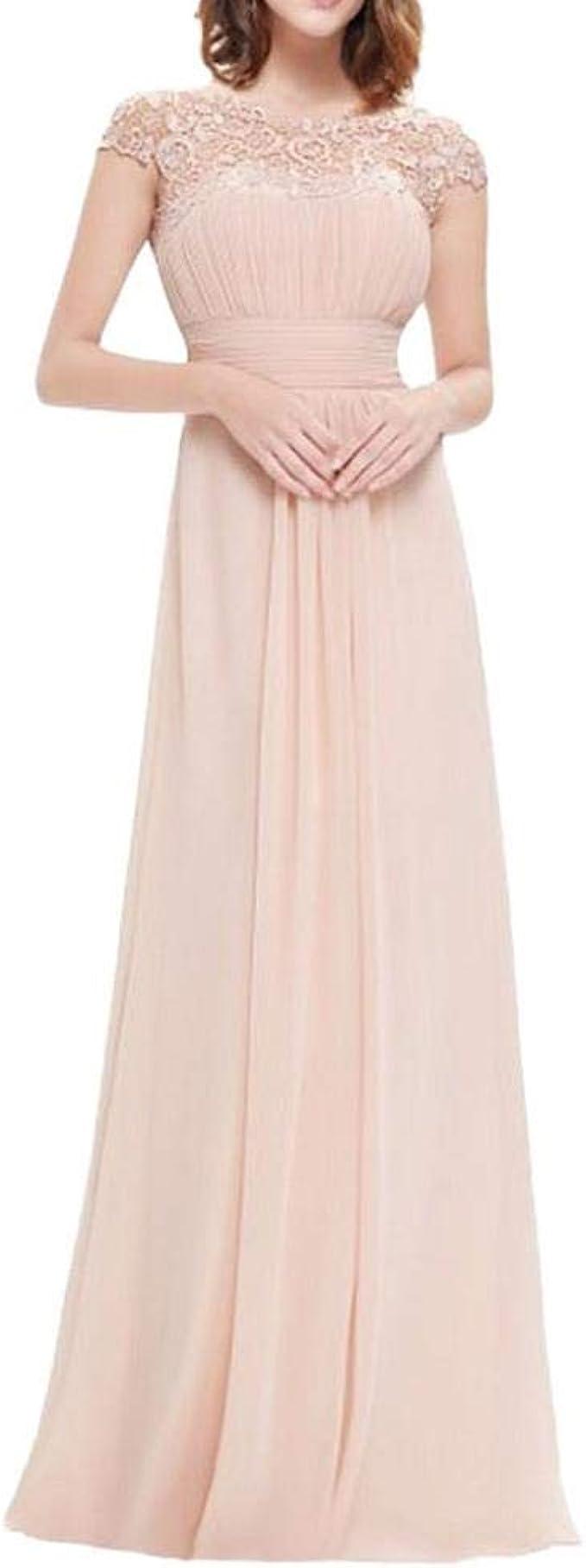 YEBIRAL Damen Kleid Festliche Kleider Brautjungfer Hochzeit Spitzenkleid  Cocktailkleid Chiffon Faltenrock Maxikleid Elegant Langes Abendkleid