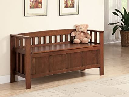 Amazon.com: Wood Storage Bench with Lift Top Seat in Medium Brown ...