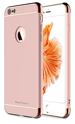 iPhone 6 Plus Case, Black Parrot 3 In 1 Ultra Thin and Slim Hard Case Coated Non Slip Matte Surface with Electroplate Frame for Apple iPhone 6 Plus(5.5') and iPhone 6S Plus(5.5') -- Rose Gold