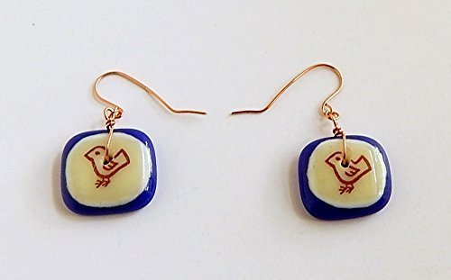 Bird Image Earrings Fused Glass Square Dangle Copper Blue White