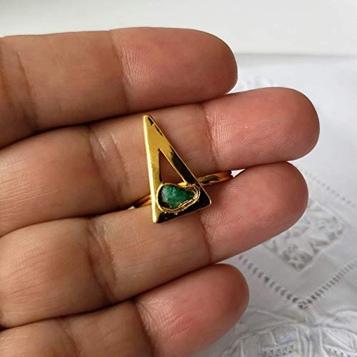 - Raw Stone Ring by D'Mundo Accesorios. Genuine Raw Colombian Emerald. Geometric Jewelry. Yellow Gold Plated Ring. Triangle Ring. Adjustable Handcrafted Handmade