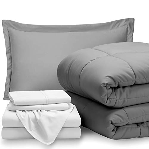 Bare Home Bed-in-A-Bag 5 Piece Comforter & Sheet Set - Twin Extra Long - Goose Down Alternative - Ultra-Soft 1800 Premium - Hypoallergenic - Bare Breathable Bedding (Twin XL, Light Grey/White) ()