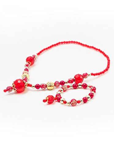 Little Adventures Necklace and Bracelet Princess Accessory Sets - Red/Gold