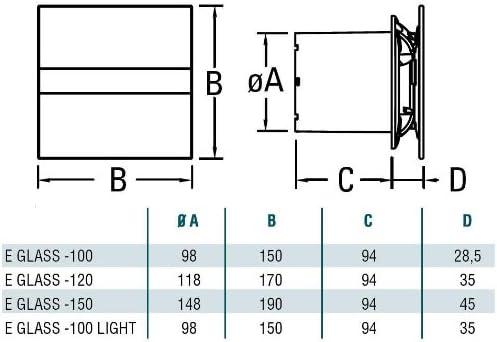 Cata | Extractor baño | Modelo e- 100 Gst | Estractor de baño Serie e Glass | Bajo Consumo | Ventilador Extractores de aire alta Eficiencia Energética | Extractor baño silencioso: Amazon.es: Salud y cuidado personal