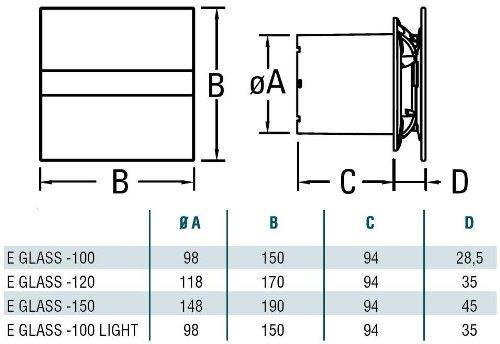 Ventilator L/üfter CATA E-100GT SILVERLINE Timer SILBERGRAU Glas Standard Glasfront SILBERGRAU stark 115 m3//h sehr leise 31 db energiesparend 8 W Kugellager EU Markenqualit/ät seit 1947,