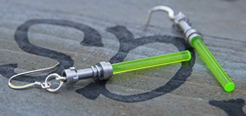 (Star Wars Lightsaber Handmade Earrings STERLING SILVER Hooks green Yoda Jedi Light Saber Star Wars for Teen Girls and Women)