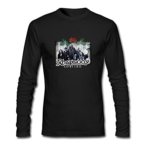 NYCQL Men's Rhapsody of Fire Into The Legend Long Sleeves T-Shirt (Tamar Braxton Black Tears)