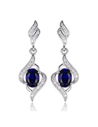 JewelryPalace 2.2ct Created Blue Sapphire Dangle Earrings Genuine 925 Sterling Silver