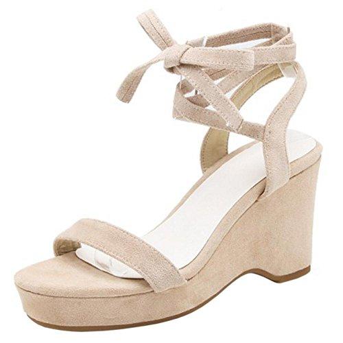 Women Platform TAOFFEN Sandals Fashion Beige nBS6qYa6