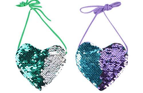 ZGMYC (Pack of 2), Little Girls Glitter Reversible Sequins Crossbody Purse Mini Shoulder Bag Satchel ()
