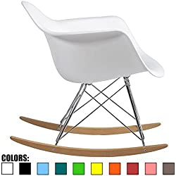 2xhome White Mid Century Modern Molded Shell Designer Plastic Rocking Chair Chairs Armchair Arm Chair Patio Lounge Garden Nursery Living Room Rocker Replica Decor Furniture DSW Chrome