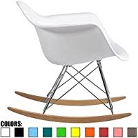2xhome - White - Eames Chair Rocker White Eames Rocker Molded Modern Plastic Armchair - Retro Rocker Chrome Steel Eiffel Base - Ash Wood Rockers Living Room Matte Finish