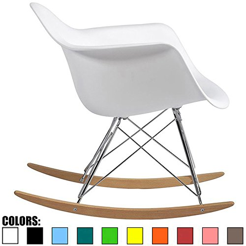 Arm Rocking Chair - 2xhome White Mid Century Modern Molded Shell Designer Plastic Rocking Chair Chairs Armchair Arm Chair Patio Lounge Garden Nursery Living Room Rocker Replica Decor Furniture DSW Chrome