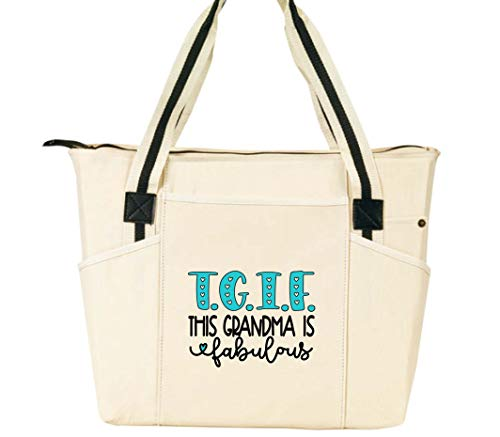 TGIF This Grandma is Fabulous - Grandma Tote Bag for Women - Large, Durable Zippered Totes with Pockets - Perfect Gift for Grandma, Nana, Grandmothers (TGIF Fabulous Grandma Natural)