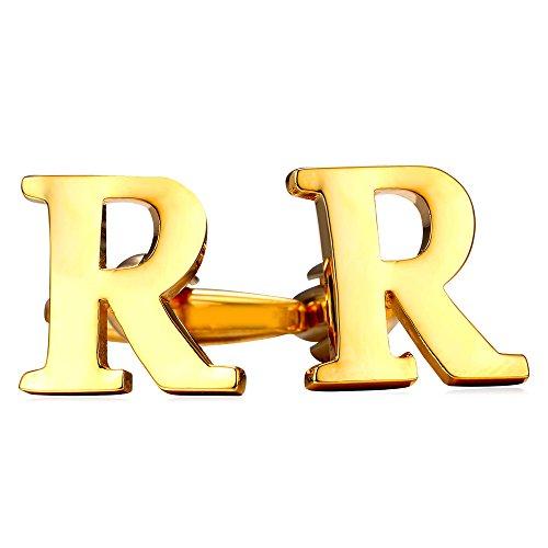 U7 Men's 18K Gold Plated Initial Cufflinks (Letter R) - 18k Gold Cufflinks