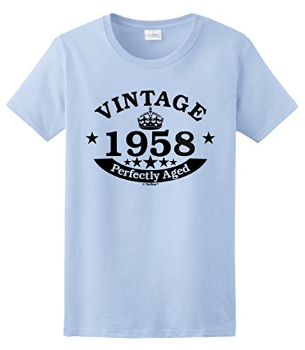 60th Birthday Gifts for Dad 60th Birthday Gift Vintage 1958 Perfect Aged Crown Ladies T-Shirt Medium Light Blue