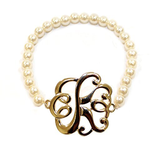 [K] Handmade Gift Initial Monogram with Pearl Stretch Bracelet - Pearl Initial Bracelet