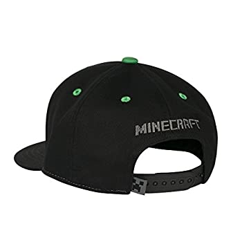 Jinx Minecraft Creepin Snapback Baseball Hat (Black, Youth Fit) 2