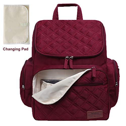 Landuo Diaper Bag Backpack for Mom with Changing Pad, Multi-Function Waterproof Travel Nappy Bags for Baby Care, Large Capacity, Stylish & Durable (Red)