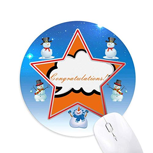 Daily Language Chat Congratulations Hope Snowman Mouse Pad Round Star Mat (Hope Snowman)