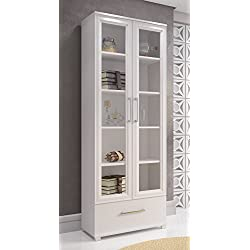 Manhattan Comfort Serra 1.0 Bookcase Collection Modern 5 Shelf Bookcase Display Case with 2 Glass Doors and 1 Bottom Drawer, White