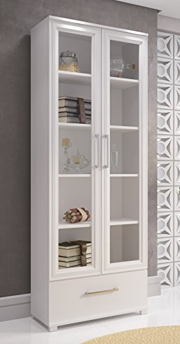 Manhattan Comfort Serra 1.0 Bookcase Collection Modern 5 Shelf Bookcase Display Case with 2 Glass Doors and 1 Bottom Drawer, White (Doors Two Drawer One)