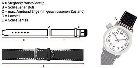 Büffelkalb Ersatzband Uhrenarmband Leder Band schwarz 26359S, Stegbreite:26mm