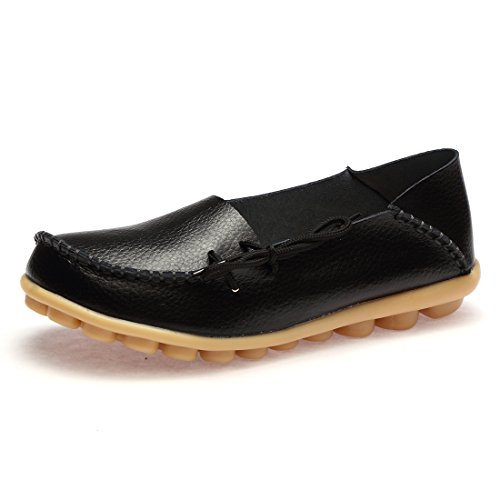 BTDREAM Women's Leather Slip-on Loafers Moccasins Casual Flat Driving Boat Shoes with Memory Foam Insole 002-black