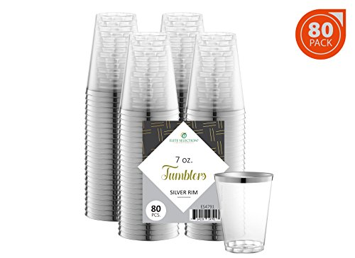 Elite Selection Plastic Tumbler Cups – Clear Crystal Plastic Cups – 7 oz 80 Disposable Cups – Nice Party Cups with Silver Rim – Set of Hard Plastic Cups – Wedding Accessories -