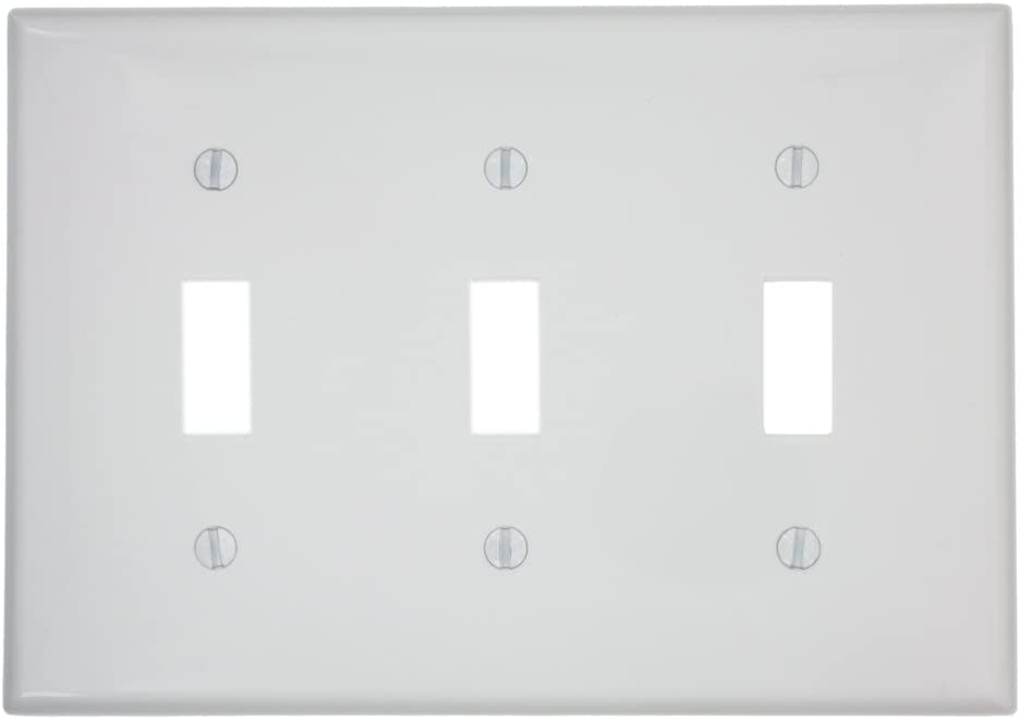 Leviton 80711-W 3-Gang Toggle Device Switch Wallplate, White, 1 Pack