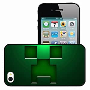 Personalized iPhone 4 4S Cell phone Case/Cover Skin Minecraft Creeper Background Games Black