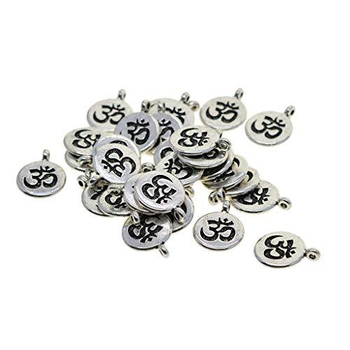 30x Tibetan Silver Life Tree Lotus OM Yoga Charms Pendant DIY Jewelry Making (Style - OM)