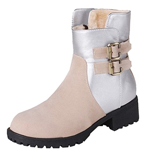 Beige High Microsuede SHOWHOW With Lined Buckle Faux Boots Fur Women's Ankle Splicing Casual qfU17